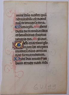 Illuminated; Original 15th-century handwriting from Bruges