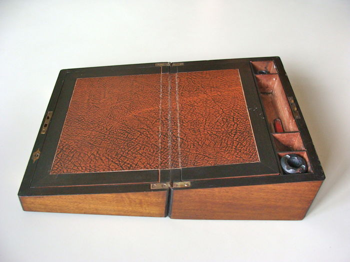 Mahogany writing box with brass fittings - England - early 20th century