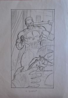 Original sketch by Claudio Villa - Marvel Comics: The Punisher