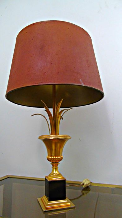 Unknown Producer Mid Century Palm Tree Table Lamp With Red Gold Fabric Shade Catawiki