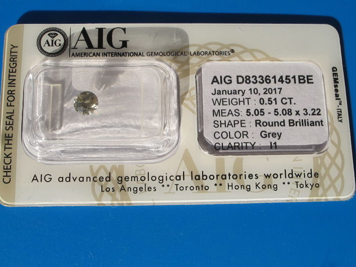 0.51 ct - Round Brilliant - Grey - I1 - Very Good - Fluo None - AIG Certificate