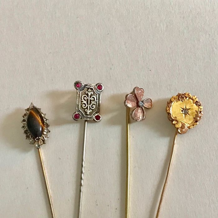 18 kt yellow gold diamond solid silver garnet tiger's eye lot of 4 antique pins