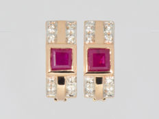 Gold 14 kt  Earrings Ruby Diamonds Weight: 3.94 g ***No reserve price***