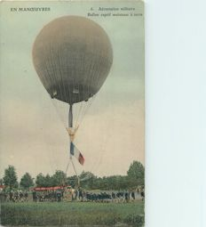 Balloon - Aviation - Aerospace - Lot of 3 old postcards - Military ballooning - Captive balloon