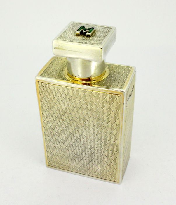 Art Deco silver perfume flask with natural emerald initials - Asprey & Co - London - 1928