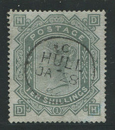 Great Britain 1867/83 - Queen Victoria - 10 shilling grey-green, Stanley Gibbons 131, watermark Anchor Blued Paper
