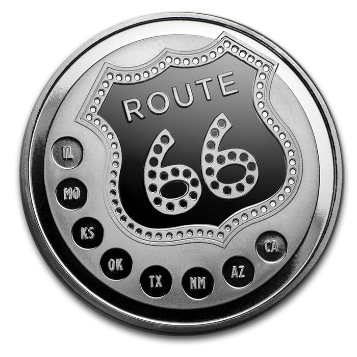 United States - medallion 'Sunshine Minting / 90 year anniversary of Route 66' - 1 oz silver