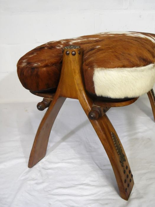 Groovy Camel Saddle Bench Stool With Cow Leather Cushion Ottoman 2Nd Half Of 20Th Century Catawiki Theyellowbook Wood Chair Design Ideas Theyellowbookinfo