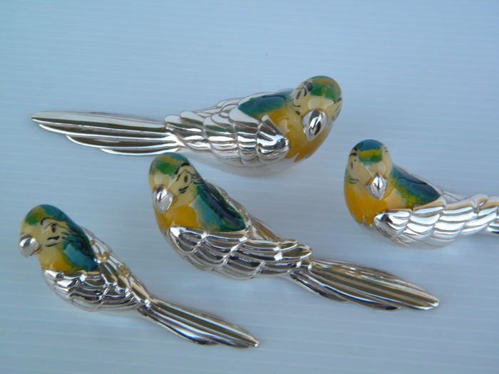 Solid Silver Parrots Fam. of 4 pieces Saturno Silversmith Arezzo (Italy), 20th century