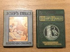 "Lot of 2 illustrated ""Aesop's Fables""  books - 2 volumes - ca. 1865/1925"