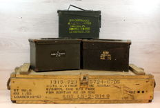 Four ammunition boxes in wood and steel