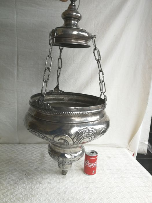 Rare and antique English silver plated lamp, wired up later, England, 1900s