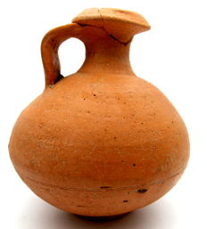 Roman Terracotta Legionary Jar / Flagon with Handle - 115x124mm