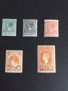 The Netherlands 1920/1924 - Clearance emission and Exhibition stamps - NVPH 104/105 + 136/138