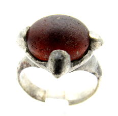 Medieval Viking Era Silver Ring with Red Stone in the Bezel - Wearable - 16mm