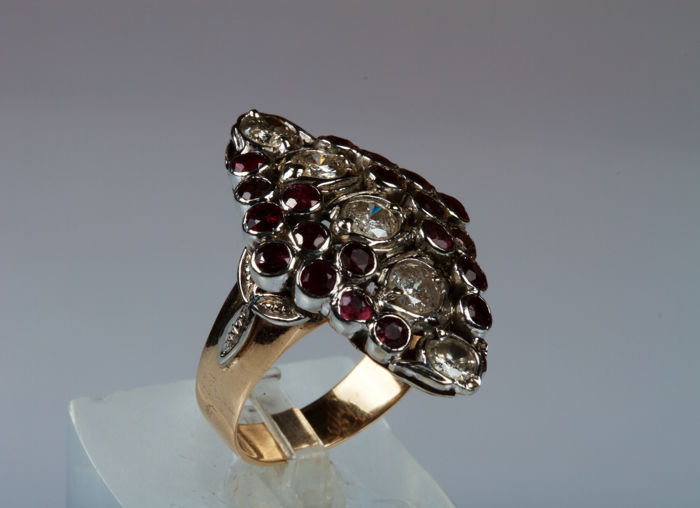 Antique-style 14 kt gold and silver ring with diamonds and rubies