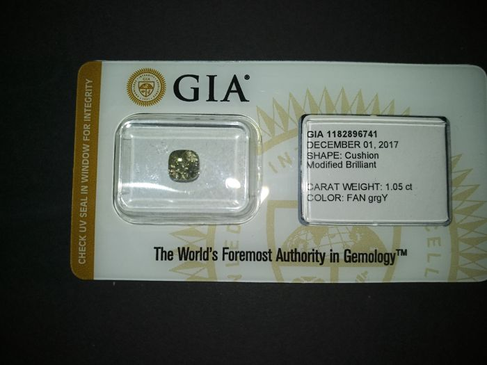 1.05 ct. GIA Certified Natural Fancy Gr. Greenish Yellow, Even Diamond