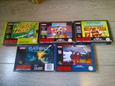 Lot of 5 boxed SNES games, 3 CIB - Flashback, Super Tennis, F1 Pole Position 2, Striker, World Cup Striker