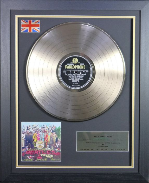 The Beatles, 'Sgt. Peppers Lonely Hearts Club Band'. 24 kt Gold plated disc 3D display  Limited edition 1 of 250 Worldwide.