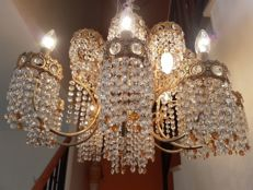 Exclusive glass teardrops chandelier lamp with sixteen arms. 20th century