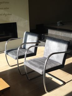 """Ludwig Mies Van der Rohe by Knoll - two chairs, model """"Brno"""""""