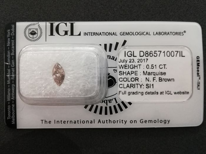 0.51ct marquise diamond, natural fancy brown, SI1