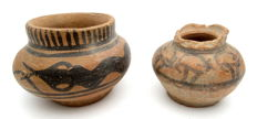 Pair of Indus Valley Painted Terracotta - Cups  - 54x43, 70x47mm - (2)