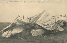 Aviation - set of 9 old postcards - Villenauxe (Aube) July 1913 Accident of pilot captain Rey on Biplan