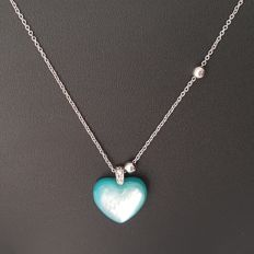 18 kt - Adjustable white gold necklace with heart-shaped pendant - Length: 45.5 cm