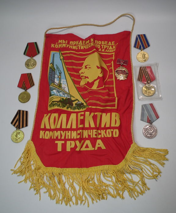 USSR/Russia - Collection of Medals and Badges to V. I. Lenin on the flag, propaganda