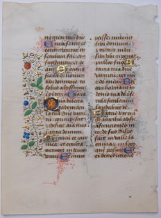 Illuminated; Original 15th-century handwriting from Normandy