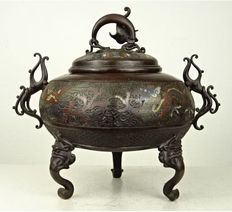 Bronze champlevé censer for the middle eastern market - Japan - Late Meiji period (1868-1912)