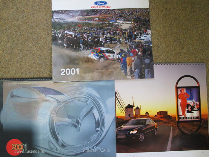 Three 2018 reusable car wall calendars from 2001 - racing and design