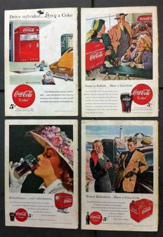 Anonymous - 4 Coca Cola advertisements - 1948/1949