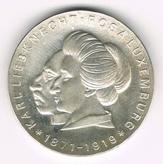 East Germany - 20 Mark 1971 Karl Liebknecht and Rosa Luxemburg - silver