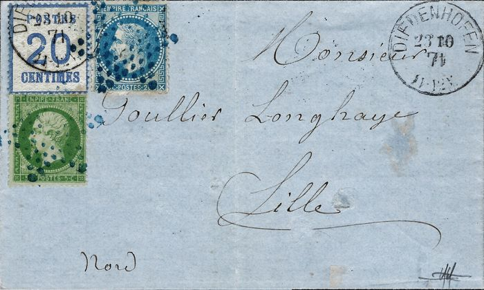 France 1871 - Very rate double postage stamp said to be from Alsace Lorraine 2 c + Empire 5 c and crowned 20 c cancelled blue star Yvert 6-20 and 29