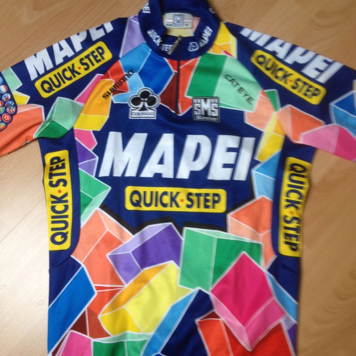 Mapei cycling jersey signed by Mac van Heeswijk