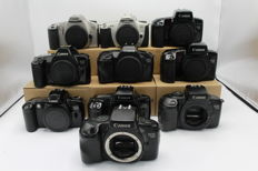 Large collection of Canon EOS Cameras - 1000F, 100, 300, 3000N, 500, 1000, 750, 850, 700 (2866)