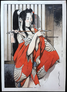 "Michetz, Marc - original drawing - ""La fumeuse d'opium"" (The opium smoker) - (2010)"