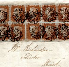Great Britain Queen Victoria 1843 - Block of Ten 1841 Penny Reds on cover