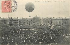 Balloon - Aviation - Aerospace - old postcard - Cavalcade of Chartres - removal of the balloon
