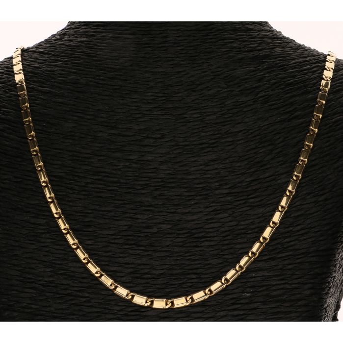 14 kt yellow gold fancy gourmet link necklace - length: 60 cm