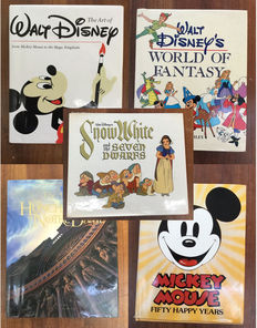 Walt Disney - 5 boeken - o.a  World of Fantasy + Art of The Hunchback + Snow White + The art of Walt Disney - 5xhc - herdruk/1e druk (1977/1996)