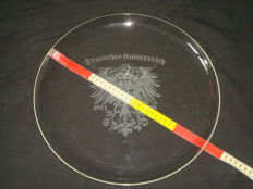 Imperial old german Crystal plate, WW 1 with serial number (722) Deutsches Kaiserreich 1871 - 1918