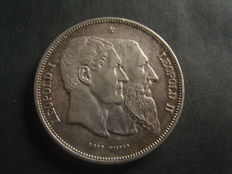 Belgium - module of 5 Francs 1830-1880 Leopold II '50 years of independence' - silver and bronze