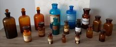 Collection of 18 pharmacy jars