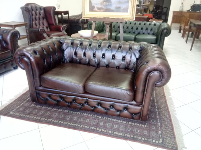 Swell Two Seater Sofa In Cognac Brown Real Leather 20Th Century Catawiki Ocoug Best Dining Table And Chair Ideas Images Ocougorg