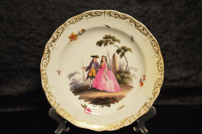 Meissen Plate -  Watteau Scene Painting - Not decorated in the factory