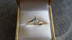Ladies' 18 kt (750) yellow gold ring  and aquamarine - size 53/54