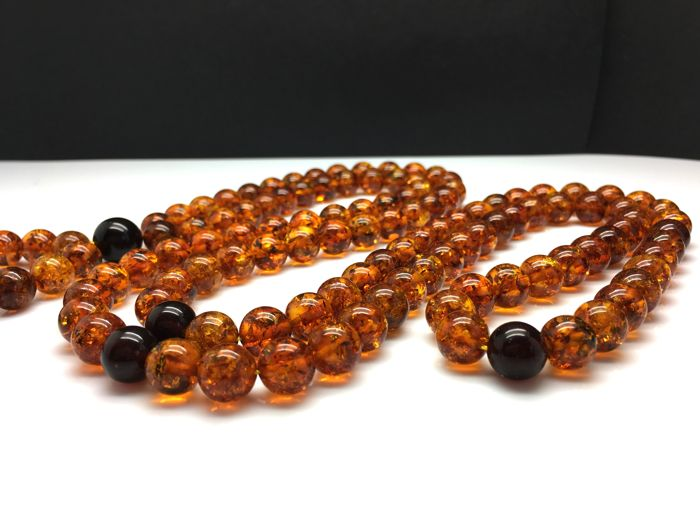Baltic Amber Lucky Mala necklace shiny cognac with cherry round 108 beads 72.7g
